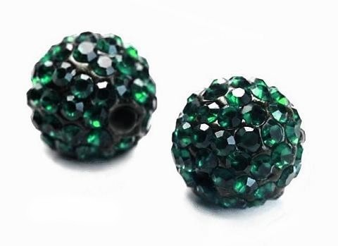 Discoball kule z cyrkoniami 9,5 mm - Emerald